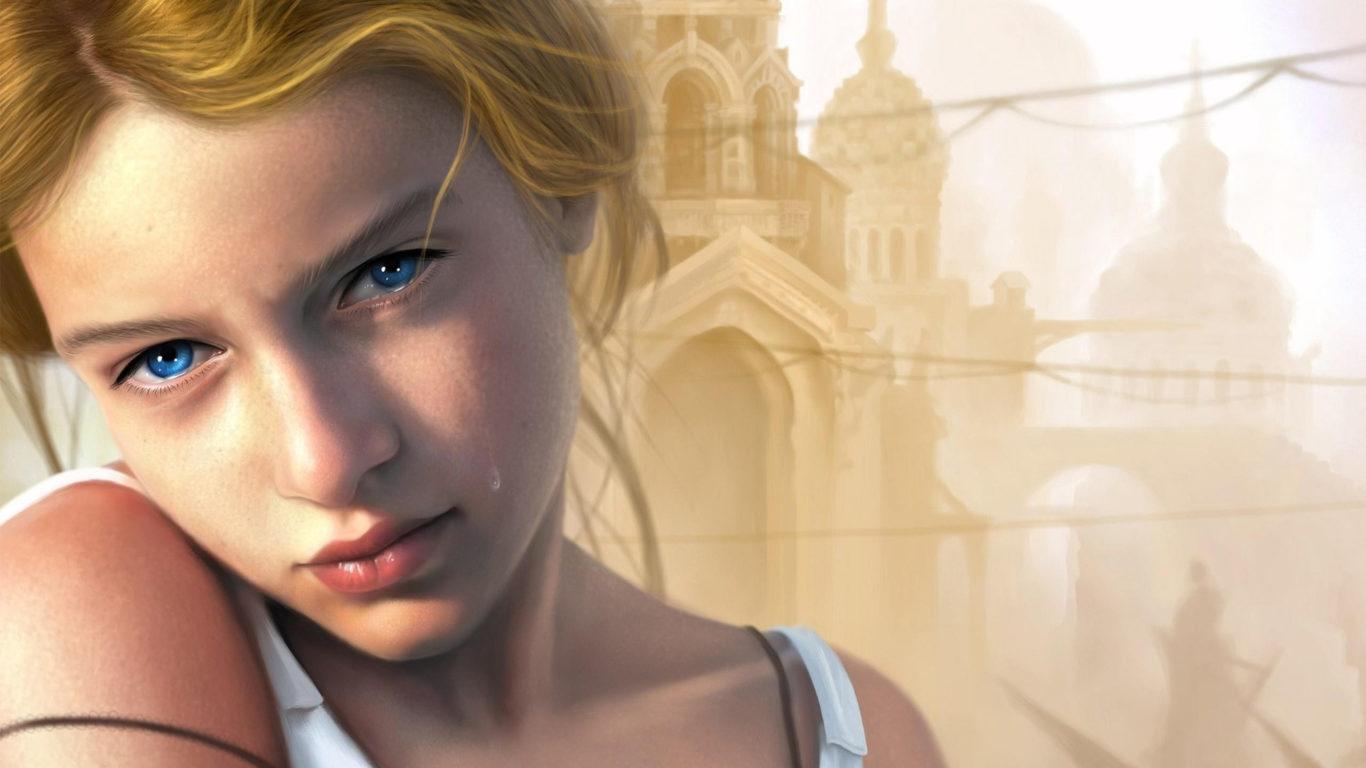 Девушка с голубыми глазами, блондинка, слеза, красотка, милая, hd обои