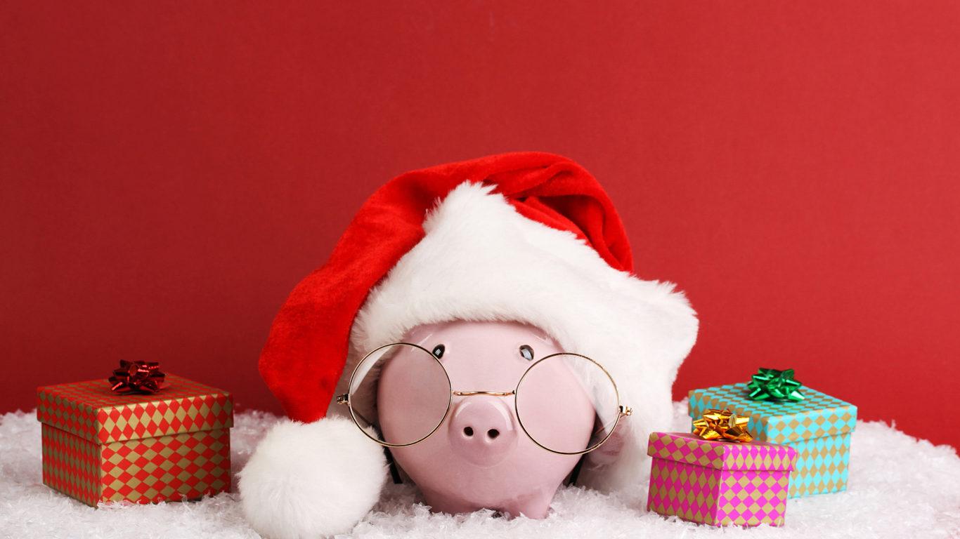 год свиньи, новый Год 2019, подарки, праздник, hd обои