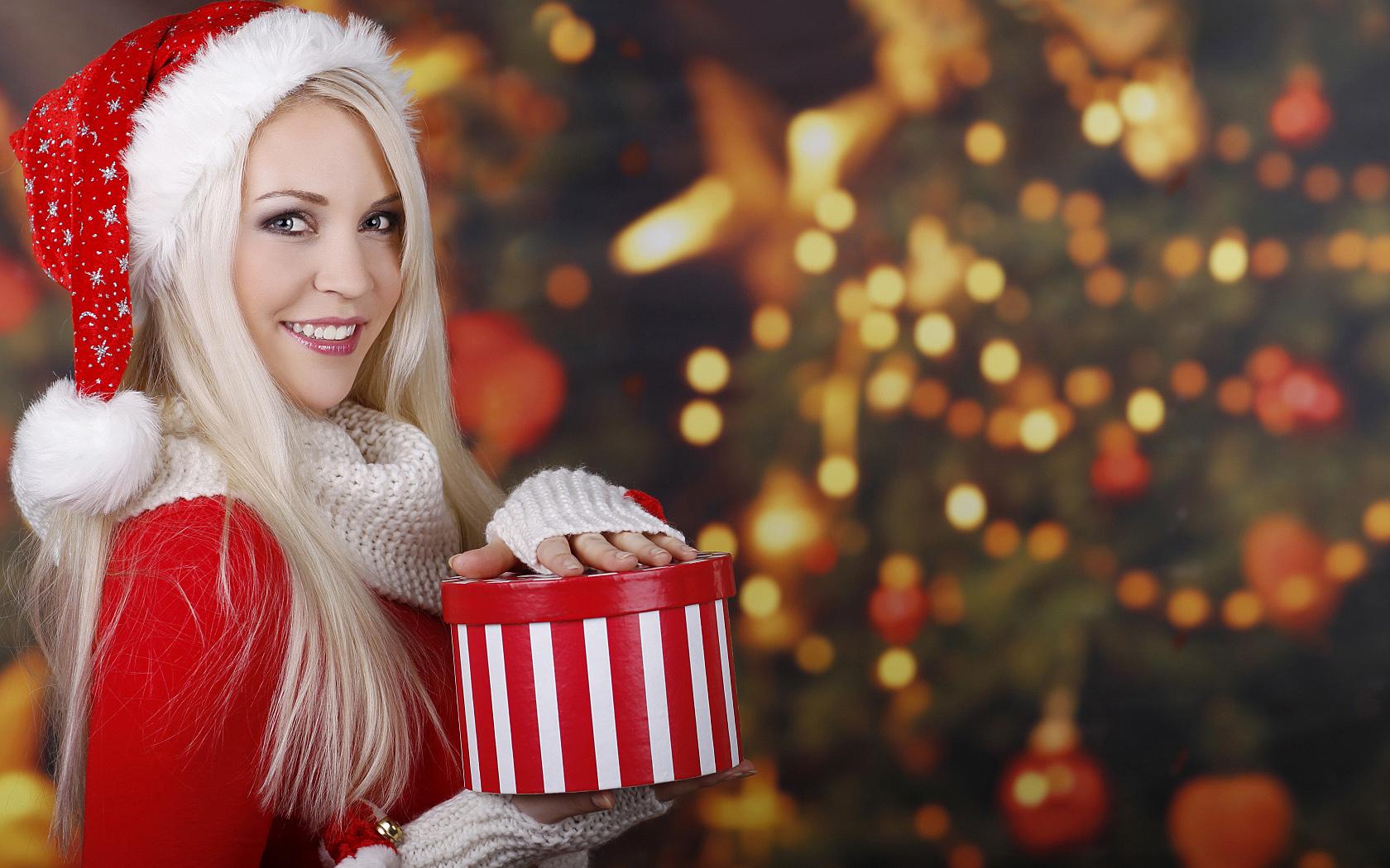 Снегурочка, Новый год, подарок, елка, девушка, Snow Maiden, New Year, gift, tree