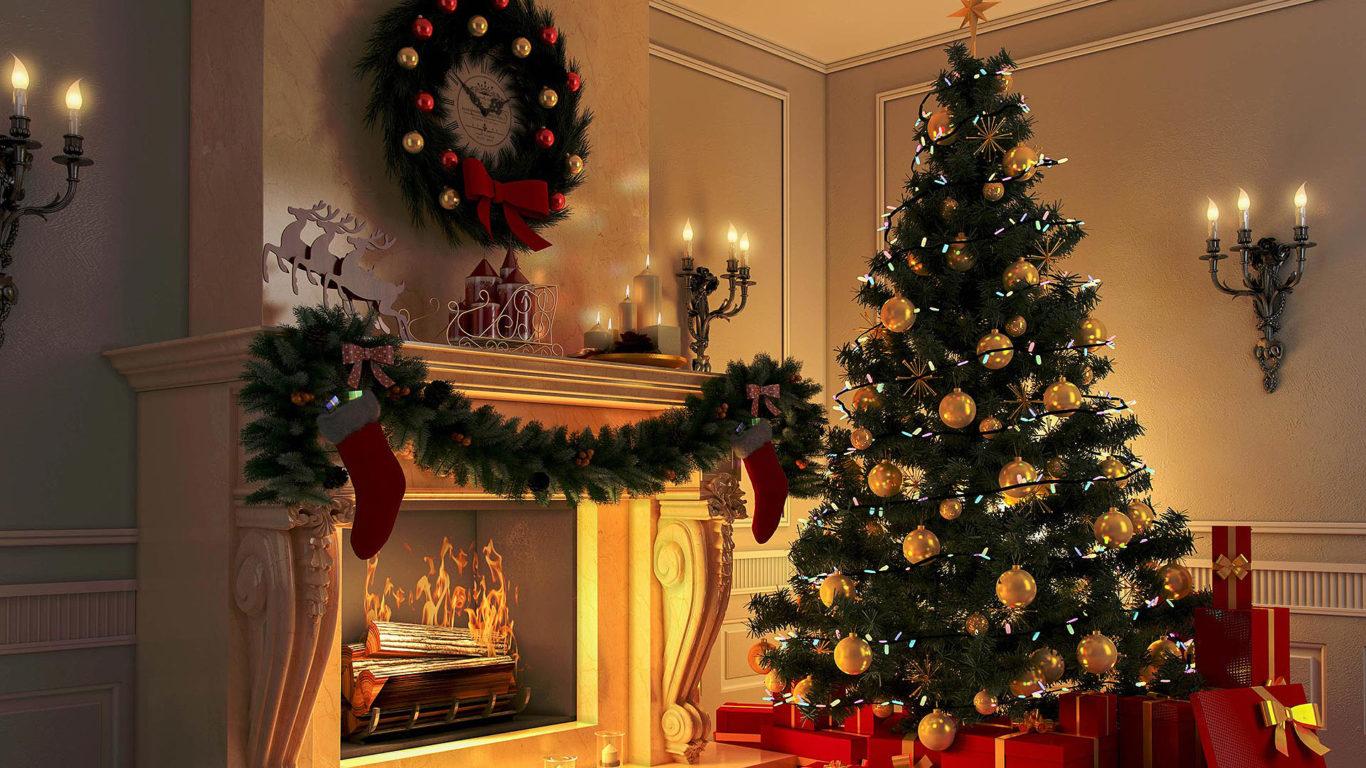 Рождество, камин, елка, Christmas, fireplace, tree,