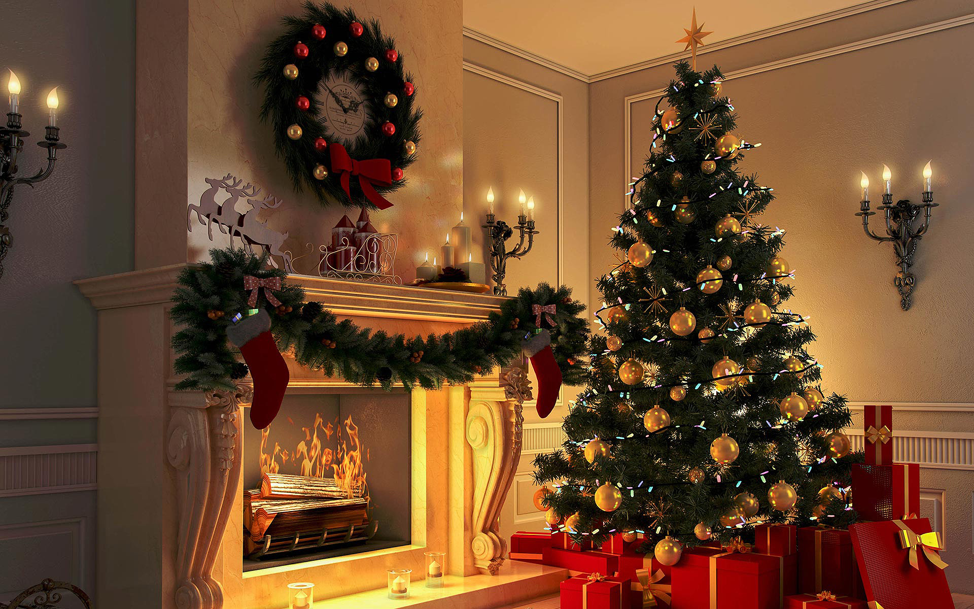 Рождество, камин, елка, Christmas, fireplace, tree,