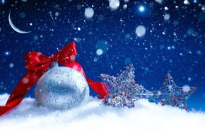 Новый год 2019, Новогодний шар, красная лента, звезды, hd обои