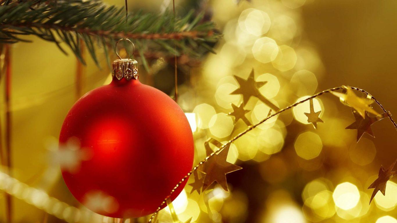 Новый Год, красный шар, новогодние обои hd