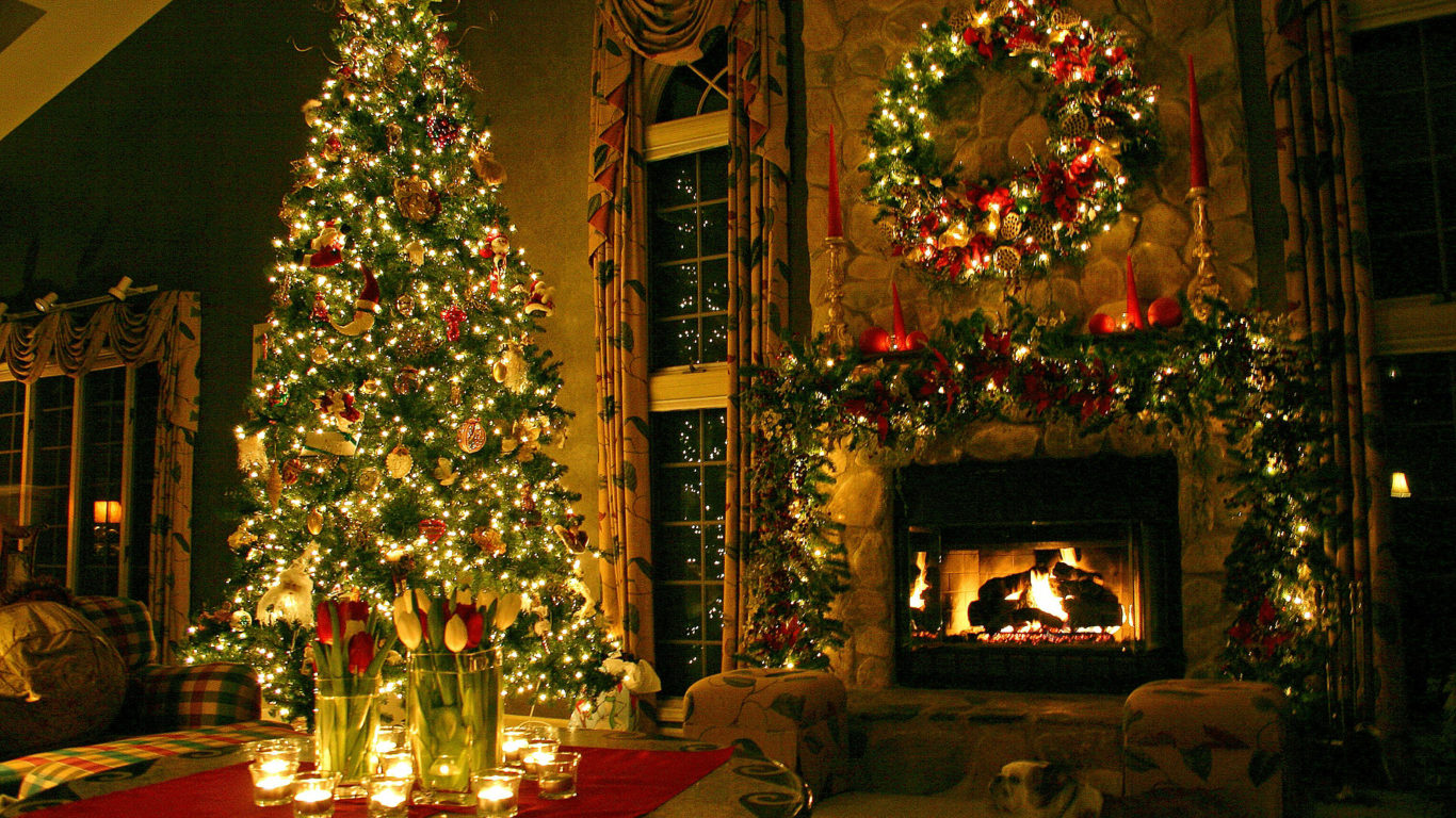 Новый год 2019, Новогодняя елка, камин, New Year 2019, Christmas tree, fireplace, full hd обои
