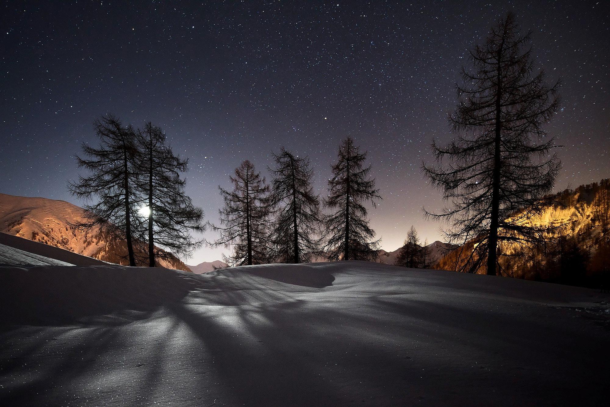 зима, снег, ночь, пейзаж, hd обои