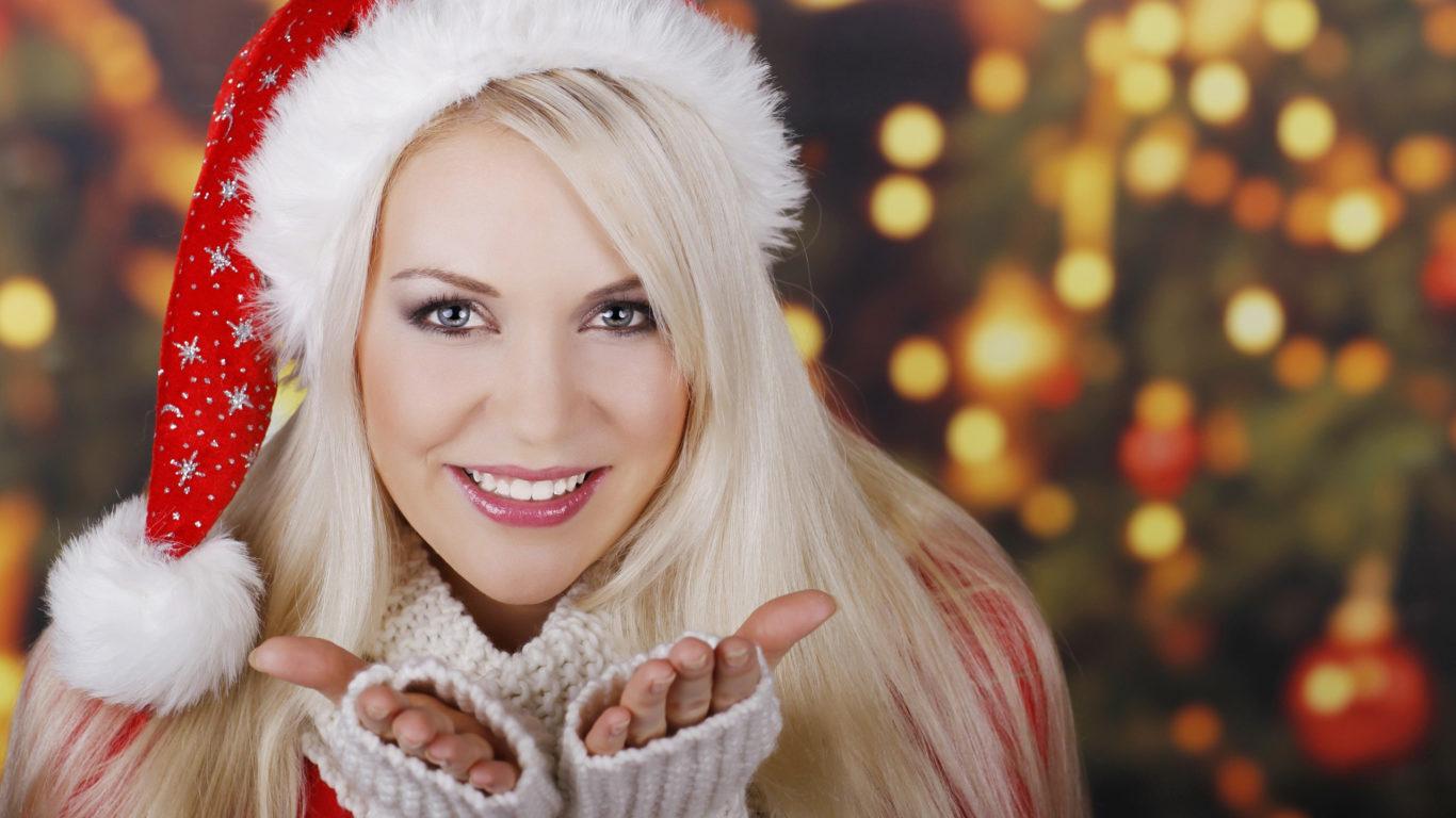 Новый год, девушка, снегурочка, улыбка, блондинка, hd обои
