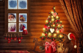 Рождество, Новый Год, елка, Санта, Christmas, New Year, tree, Santa, hd обои