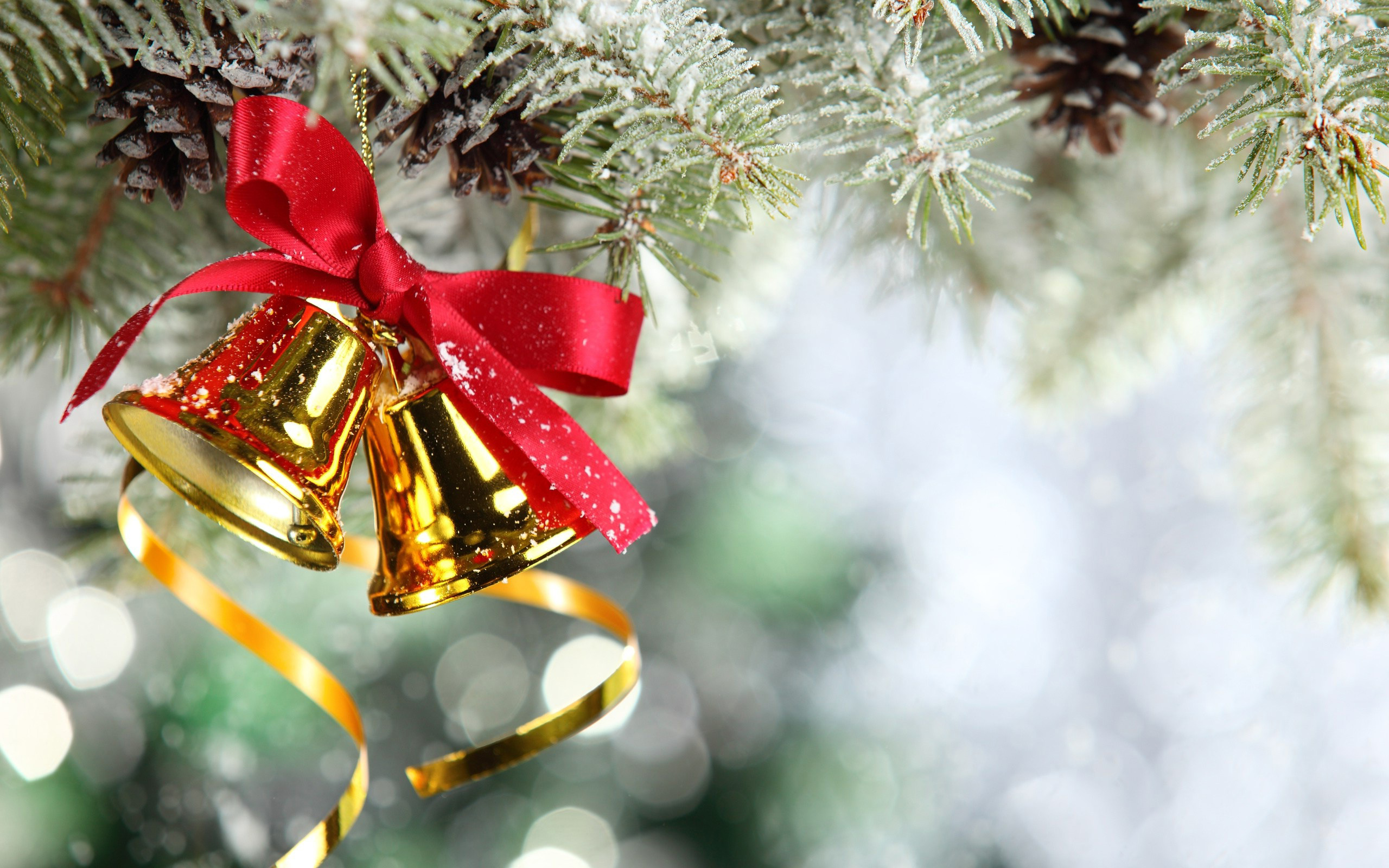 Рождество, Новый Год, колокольчики, красная лента