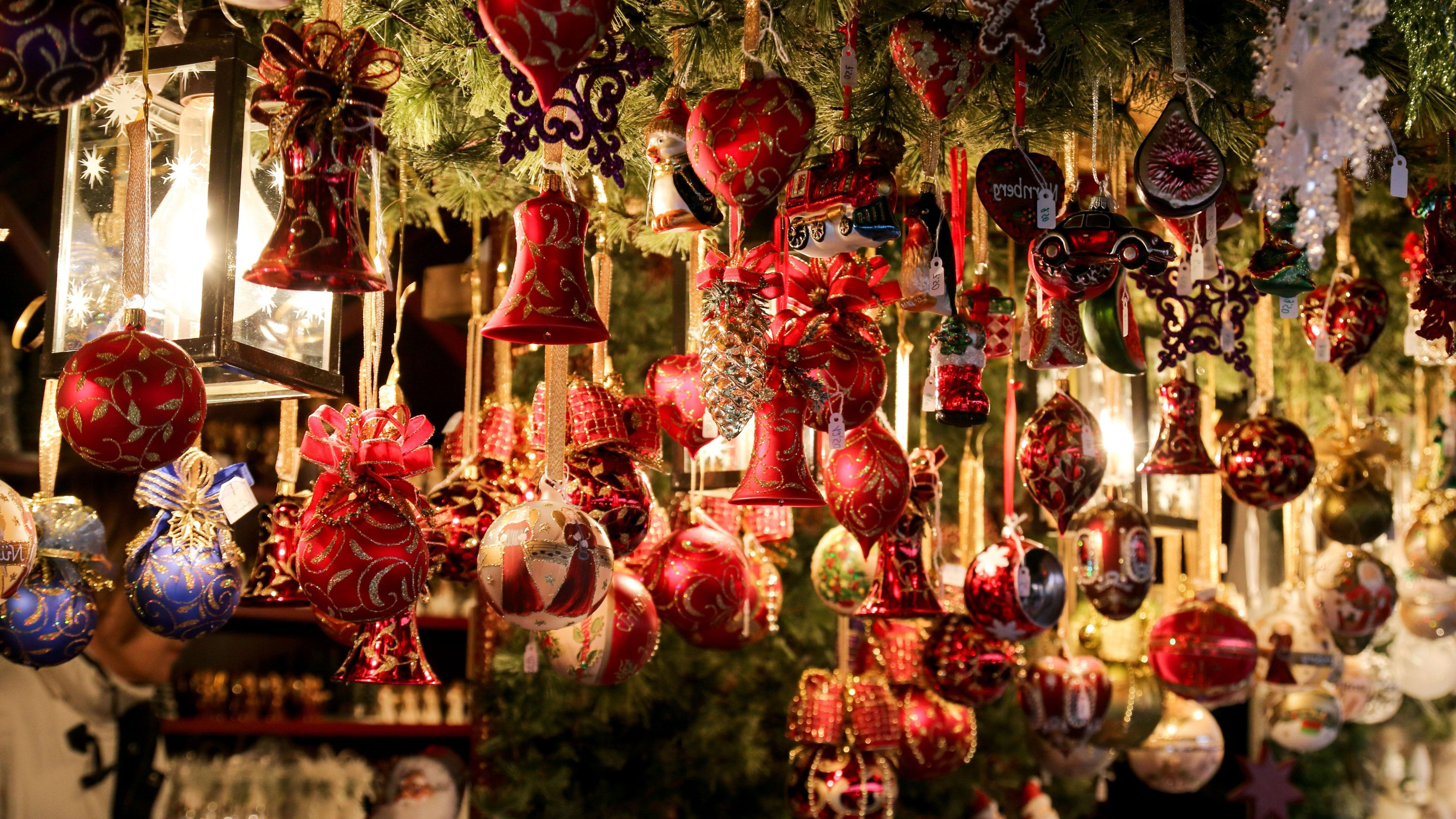 Рождество, Новый Год, игрушки, 4к обои