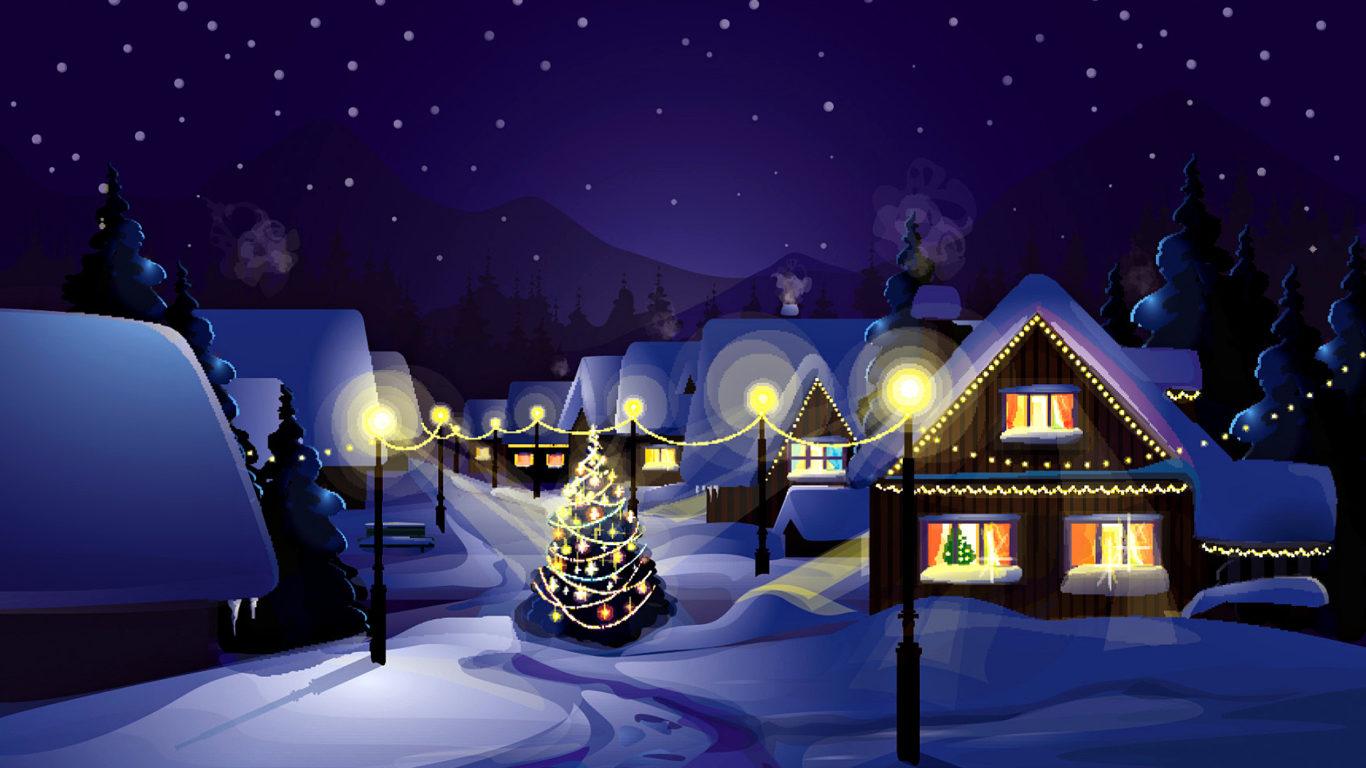 Рождество, Новый Год, деревня, село, ночь, hd обои