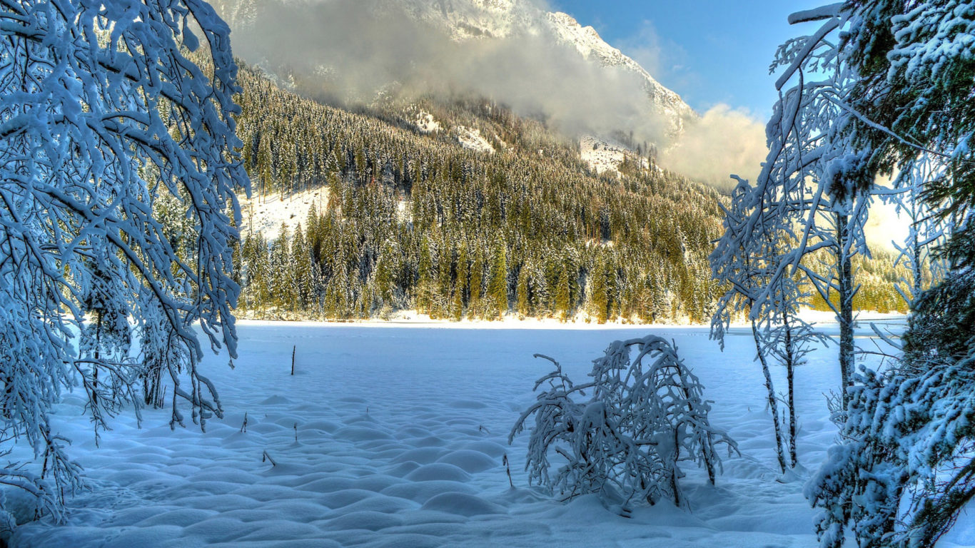 зима, снег, деревья, холмы, солнечно, облака