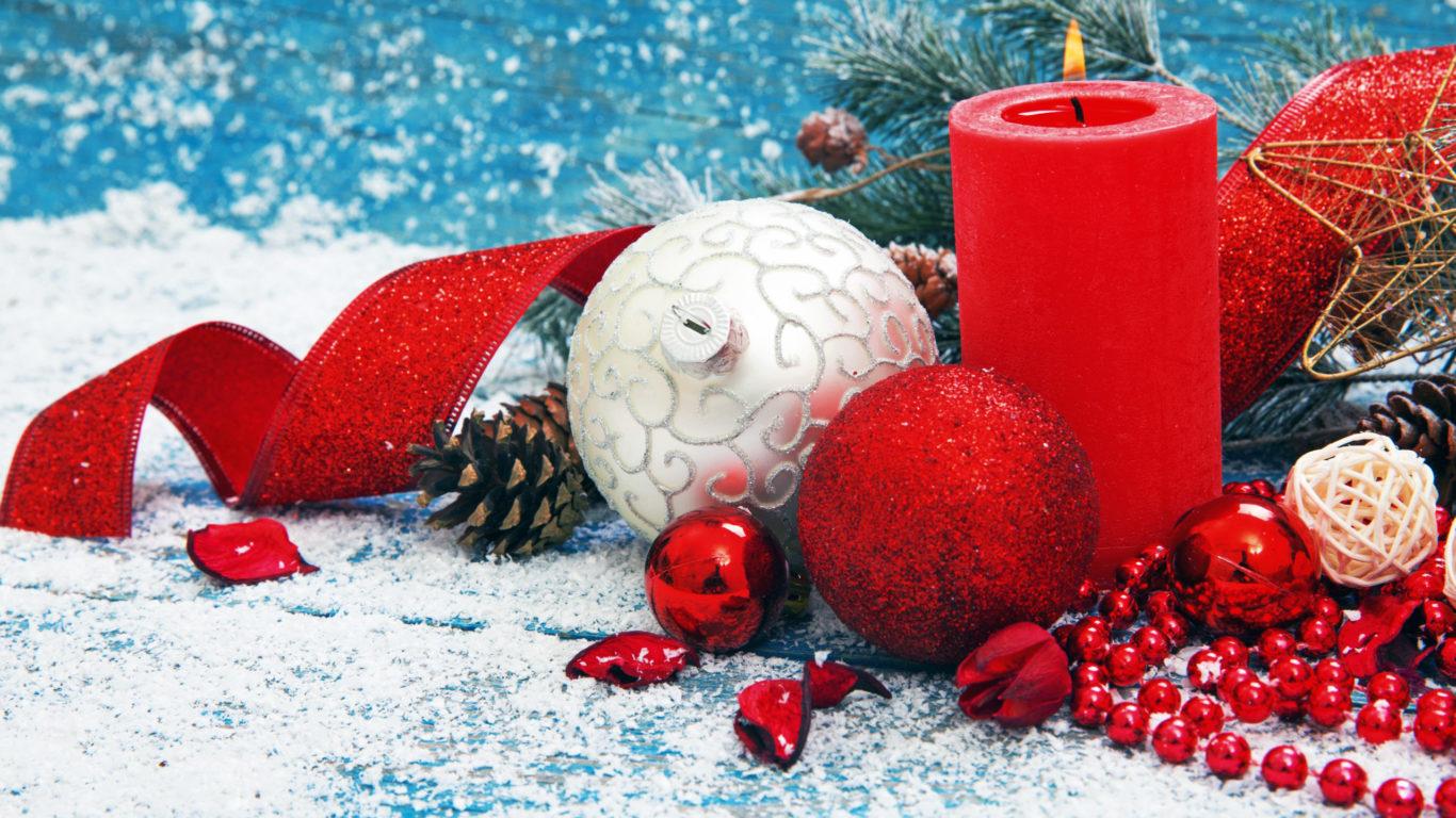 Новый Год, New Year, Рождество, свеча, шары, лента, hd обои