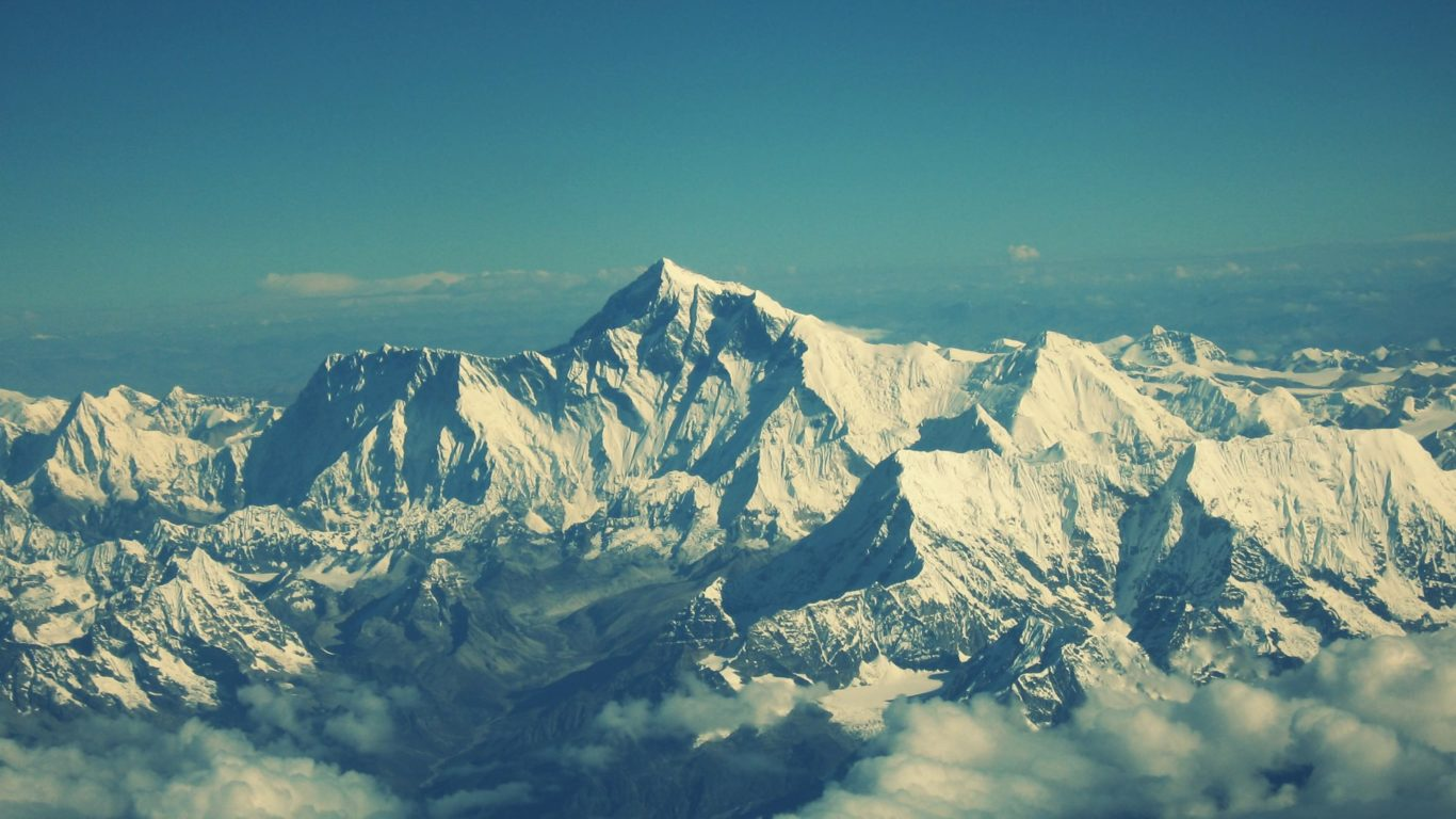 горы, Эверест, вершина, снег, облака, снег