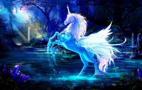 единорог, магия, лес, ночь, обои фэнтези hd