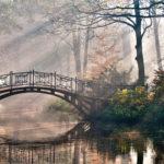 Мост через реку на рассвете