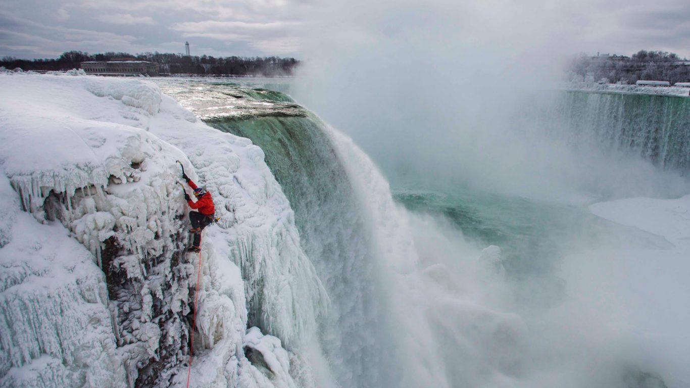 Канада, Ниагарский водопад, природа, замерзший, скалолаз, hd обои