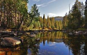 лето обои айфон, горы, деревья, река, природа