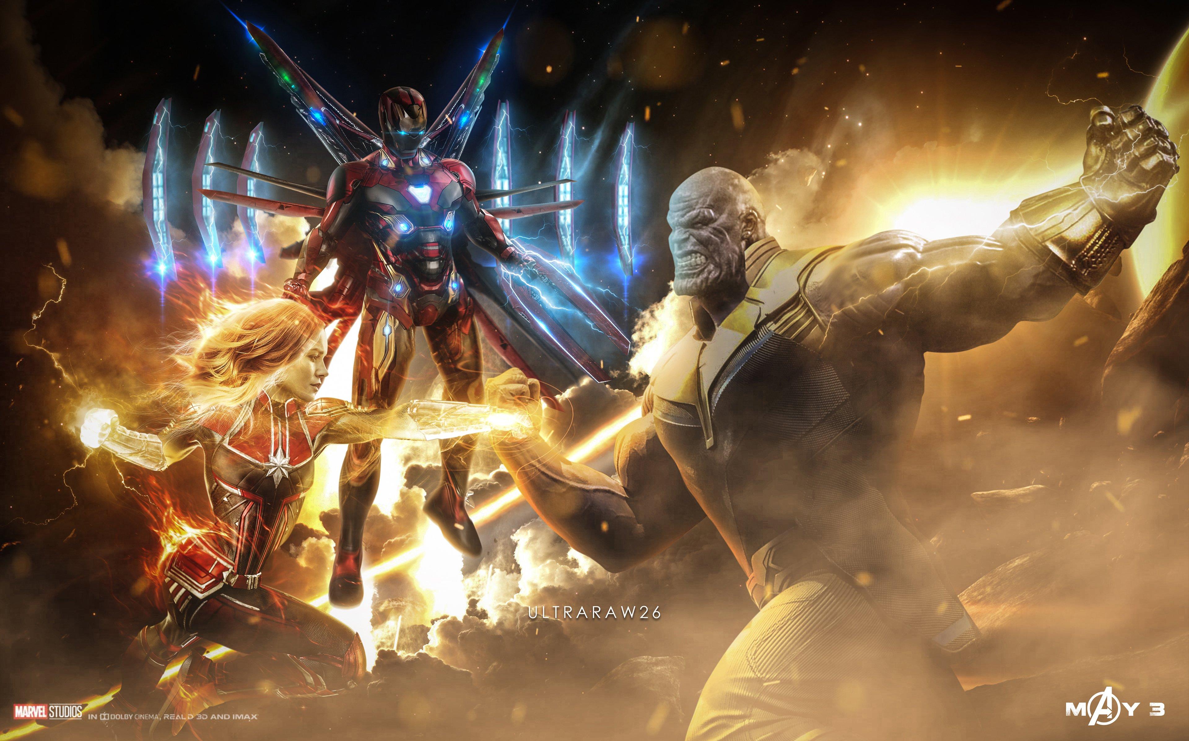 Мстители Финал, Месники 4, Танос, железный человек, капитан Марвел, обои 4к