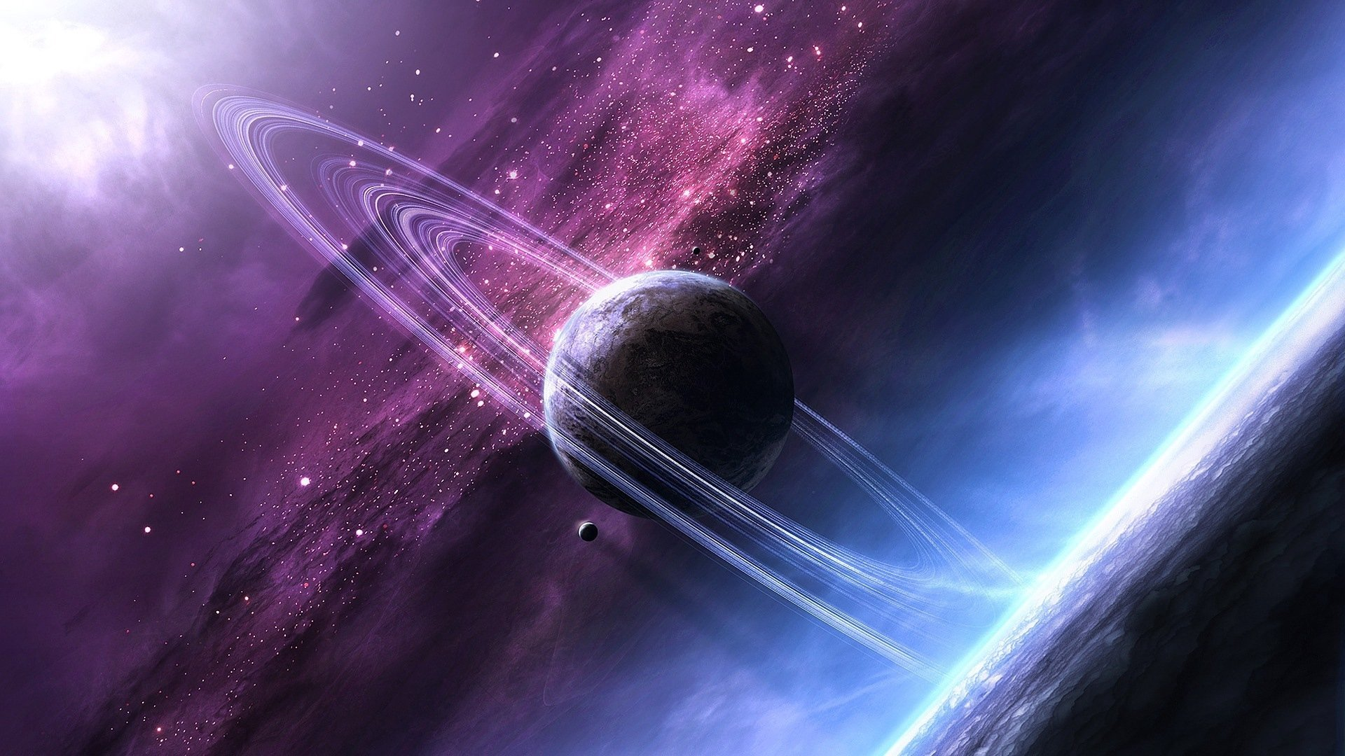 звёзды, космос, свечение, планета