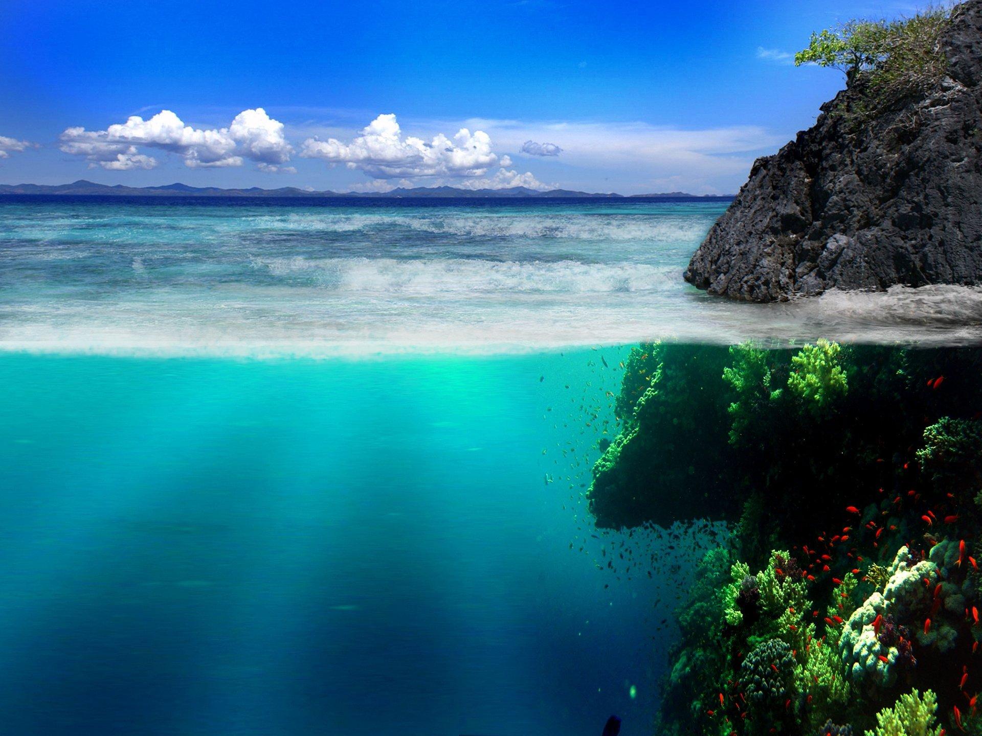 море обои на айфон 7, подводный мир, берег, скалы