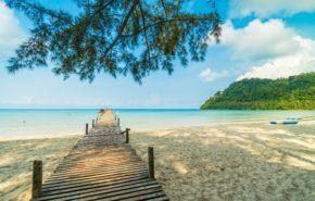 обои на телефон море океан, деревянный мост, пляж