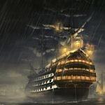 Старинный корабль в тумане