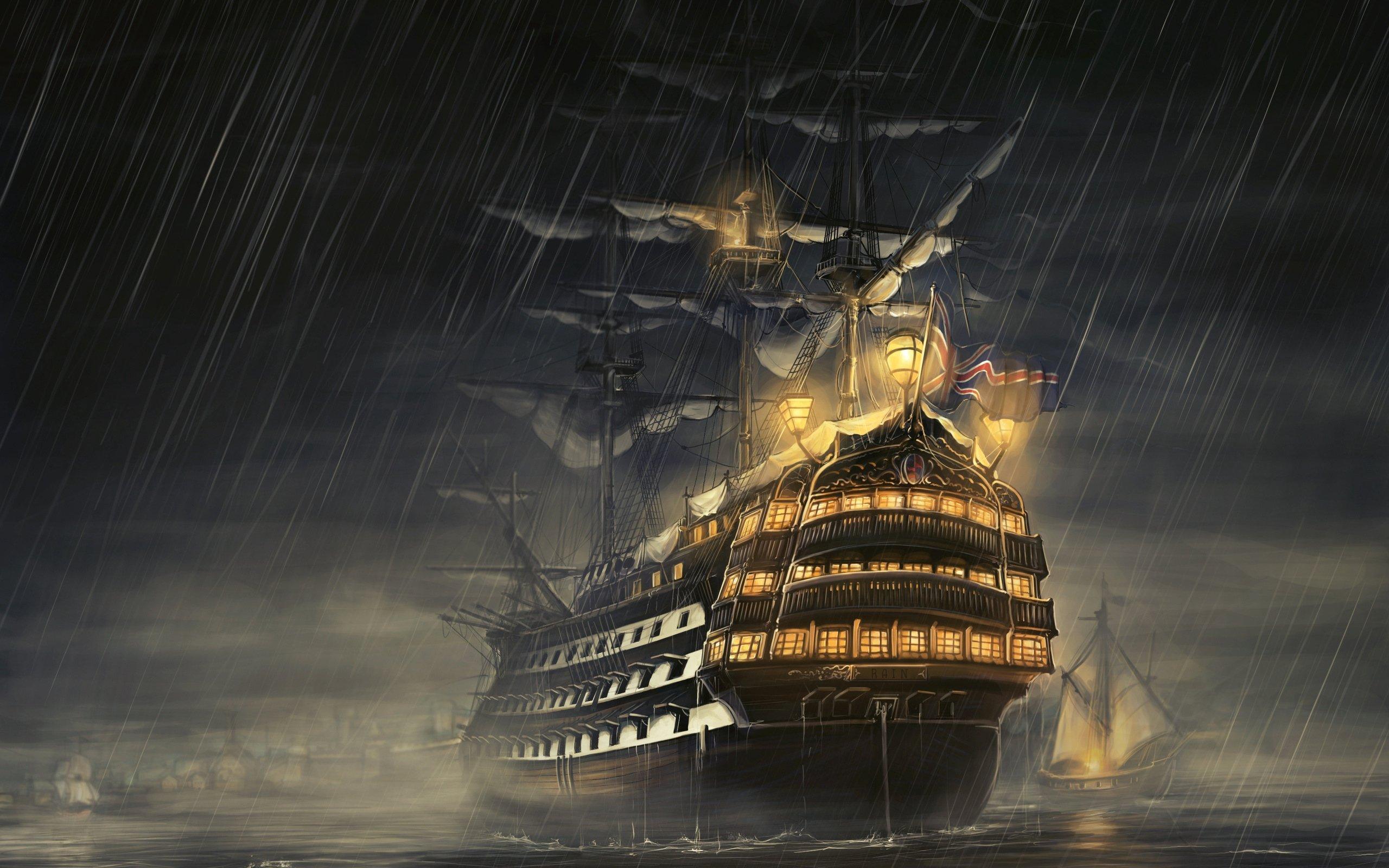 обои вертикальные фэнтези, корабли, море, свет, дождь
