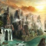 Скалы в тумане стиле фэнтези