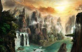 природа фэнтези обои, скалы, туман, водопад