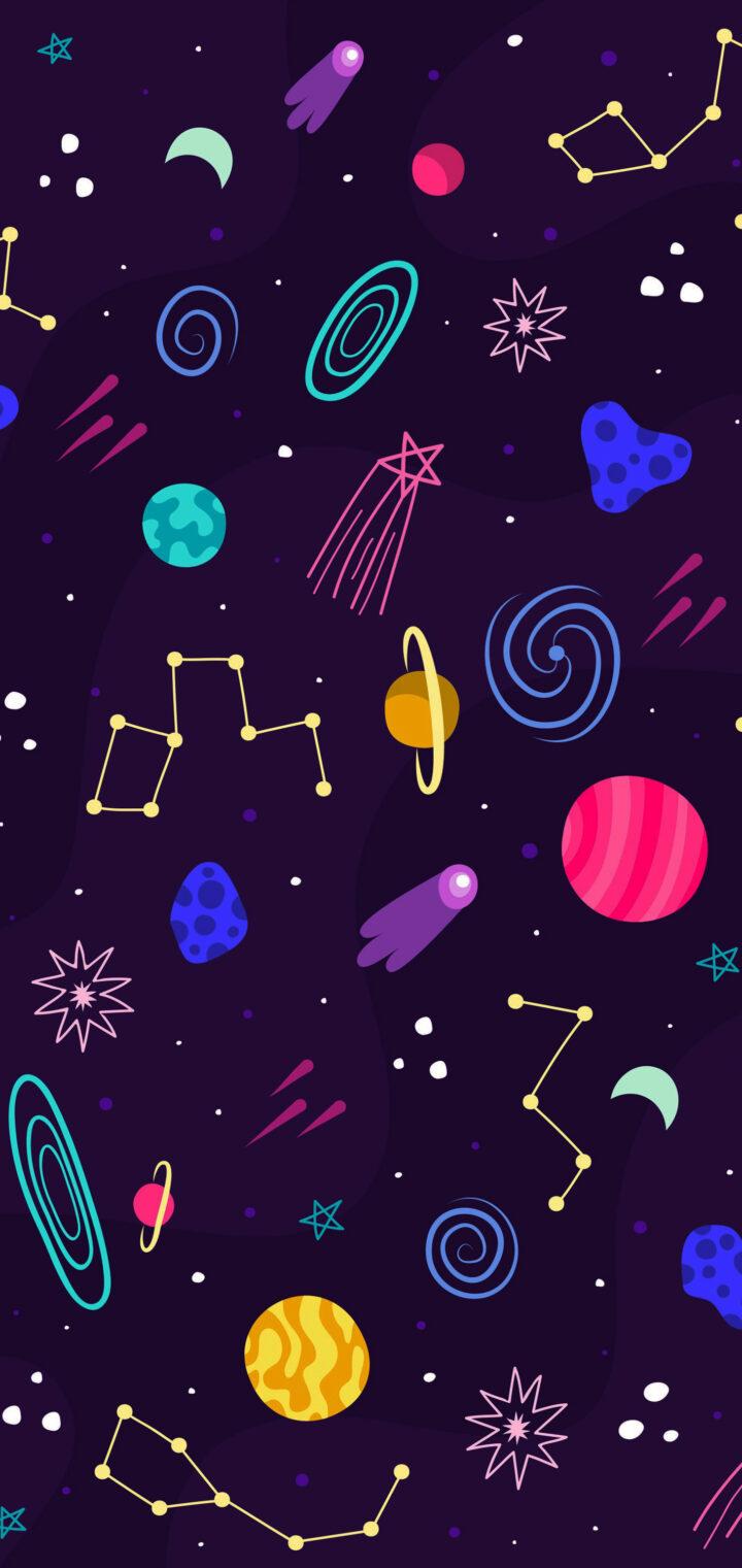 Космос фиолетовый, бесплатные картинки (заставки) на телефон